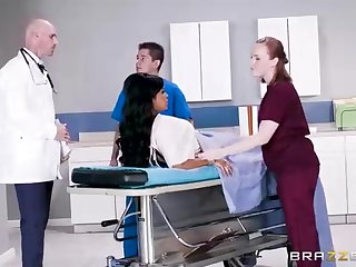 Buxom dark-hued woman with a adorable tat, Mary Jean is taking her doctor's massive man-meat, in his office