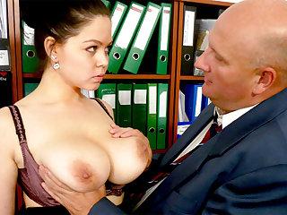 Brass hats made casting regarding secretary's huge tits