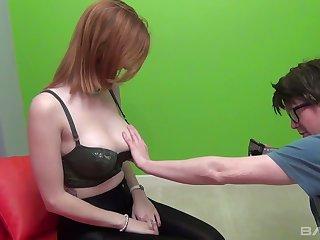 Red haired big tittied shrew Zara Du Rose fucks one kinky nerd in glasses