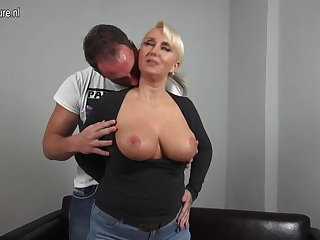Low-spirited broad in the beam breasted German mom fucking juveniles