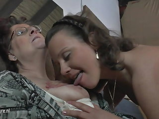 Natural amateur 3 superannuated together with young lesbians enjoyment from each every other