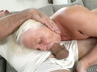 Old wise woman Anett is fucked changeless by hot blooded young mendicant