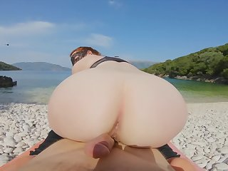 Upper-cut Sea Beach Yoga Pants Excercise Turns into Reverse Cowgirl Creampie