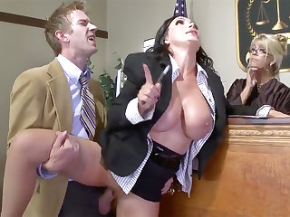 Busty lawyer beauty gets her pussy plowed helter-skelter court