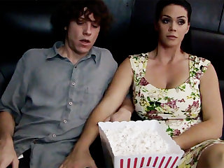 Powered milf touch dumb stepson's dick in cinema