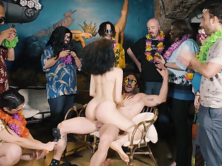 Cheerful BDSM orgy federate
