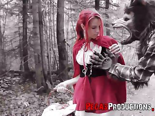 Pink haired chick in red riding hood gadget Brind Exalt is fucked in the forest