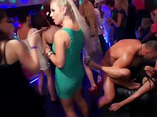 Dickloving eurobabe pounded by stripper while sucking cock