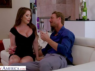 Long haired blowlerina Bianca Burke dreams about riding strong sloppy cock