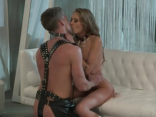 Skinny beauty sucks her male slave and swallows his sperm