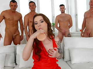 Several big dicks attack pussy with the addition of deep throat of ugly hooker Monika Wild