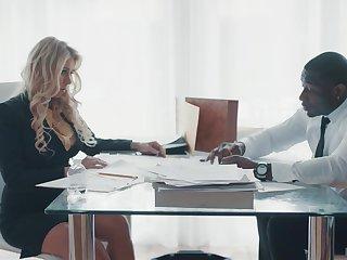Super sexy business woman Katie Morgan seduces black companion