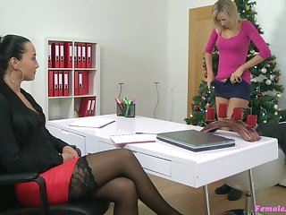 Girl on girl sex action during casting in all directions Jenny Smart and Vanessa