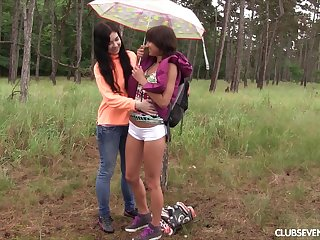 Outoor All the following are kissing added to pussy the fate of with two amateur girls
