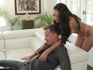 Tanned enchantress Kiarra Kai gives a deepthroat blowjob and takes hard penis in wet pussy